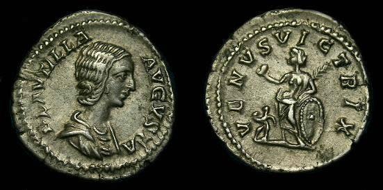 Ancient Coins - Plautilla.  Ar denarius.  202-205 AD.  Scarce.