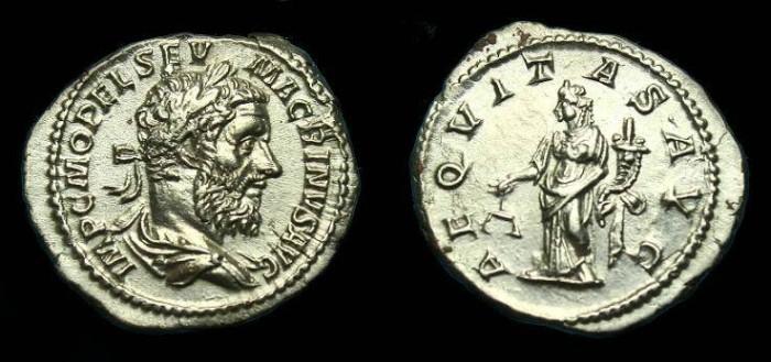 Ancient Coins - Macrinus.  Ar denarius.  218 AD.  Superb coin.