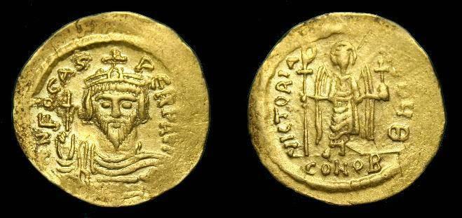 Ancient Coins - Phocas.  Au solidus.  602-610 AD.