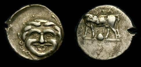 Ancient Coins - Mysia, Parion.  Ar hemidrachm.  350-300 BC.  Nice Gorgon head.