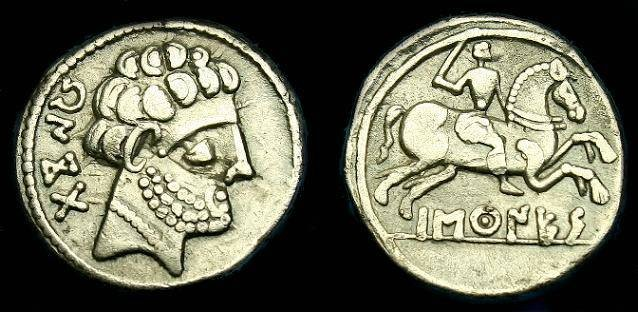 Ancient Coins - Spain.  Vascones.  Ar denarius.  150-100 BC.  Nice coin.