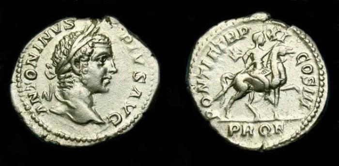 Ancient Coins - Caracalla.  Ar denarius.  208 AD.  Better type.