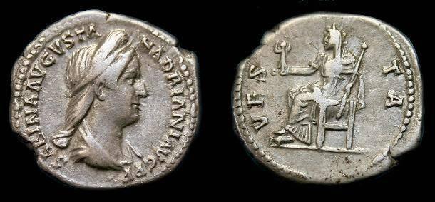 Ancient Coins - Sabina.  Ar denarius.  Ar denarius.  128-136 AD.  Scarce.
