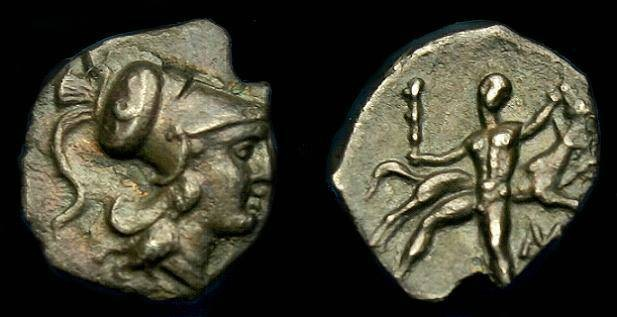 Ancient Coins - Calabria.  Tarentum.  Ar diobol.  280-228 BC.  Rare Herakles and antelope type.