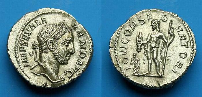 Ancient Coins - Severus Alexander.  Ar denarius.  231 AD.  Nice example.