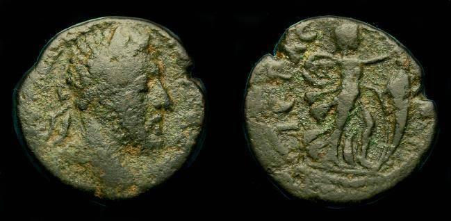 Ancient Coins - Marcus Aurelius.  Ae 21.  Phoenicia.  Byblos.  138-161 AD