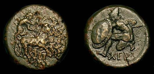 Ancient Coins - Tauric Chersonesos.  Ae20.  350-300 BC.  Very rare type.