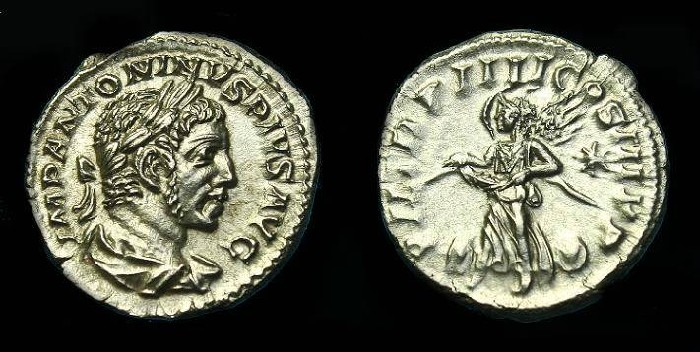 Ancient Coins - Elagabalus.  Ar denarius.  221 AD.  Stunning portrait.