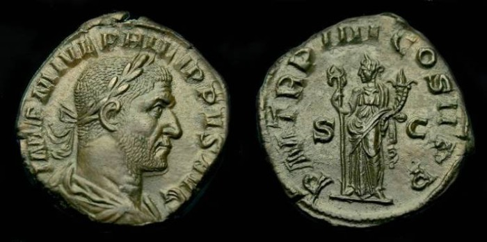 Ancient Coins - Philip I.  Ae sestertius.  244-249 AD.  Superb example.  'Choice'