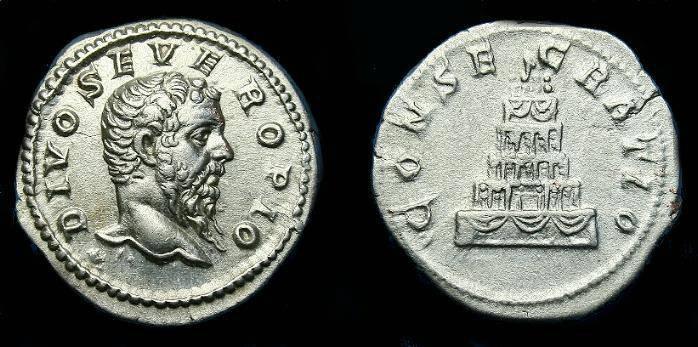 Ancient Coins - Septimius Severus.  Ar denarius.  211 AD.  Rare Divus type.