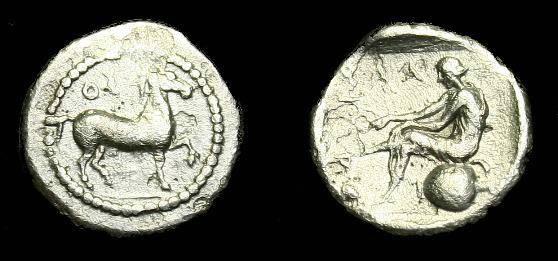 Ancient Coins - Thessaly.  Larissa.  Ar obol.  440-420 BC.  Rare type.