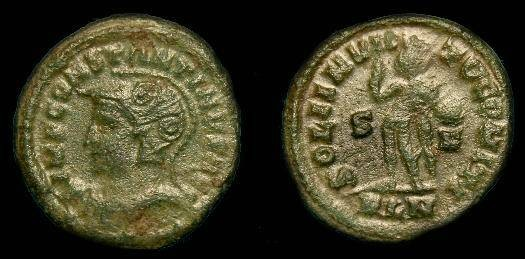 Ancient Coins - Constantine I the Great.  Ae follis.  307-337 AD.   Scarce helmeted bust London.