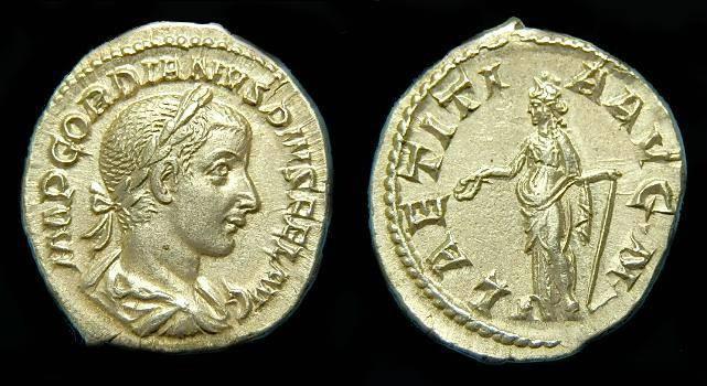 Ancient Coins - Gordian III.  Ar denarius.  C. 241 AD.  Super detail.