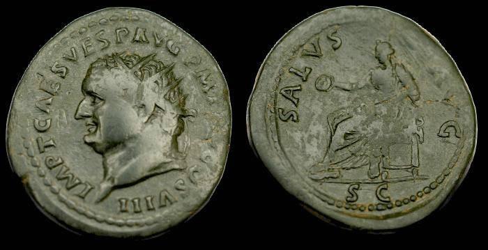 Ancient Coins - Titus.  Ae dupondius.  C. 79-81 AD.  SCARCE.