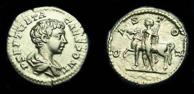 Ancient Coins - Geta.  Ar denarius.  204 AD.  CASTOR,   nice coin