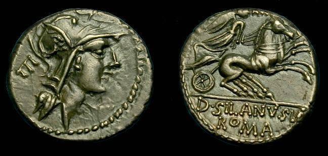 Ancient Coins - D Silanus Lf.  Ar denarius.  91 BC.  Super detail.