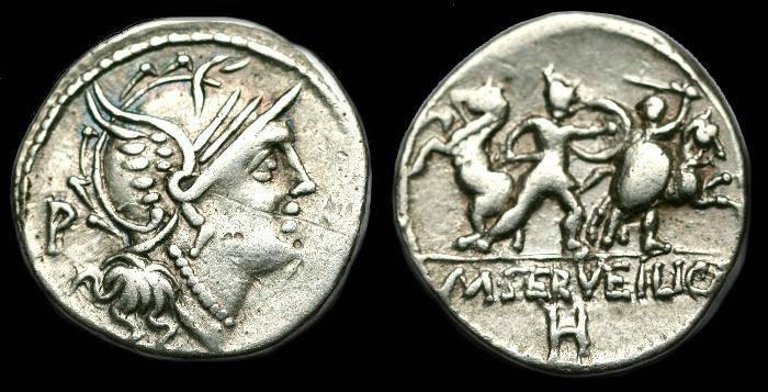 Ancient Coins - M Servilius Cf.  Ar denarius.  C. 100 BC.
