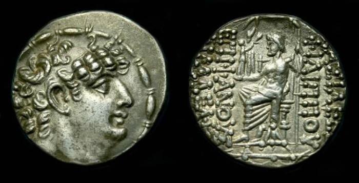 Ancient Coins - Seleukid.  Philip Philadelphos.  Ar tetradrachm.  Nice detail.