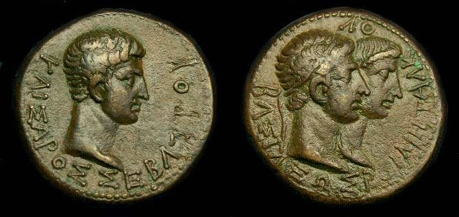 Ancient Coins - Augustus and Rhoemetalkes.  Ae 23.  Thrace.  Super detail.