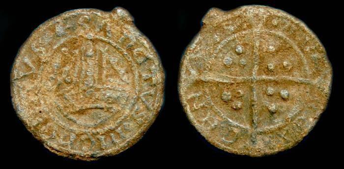Ancient Coins - Medieval lead Boy Bishop token.  C. 13th-16th century.  SCARCE.