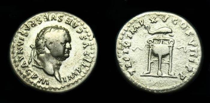 Ancient Coins - Titus.  Ar denarius.  80 AD.  Scarce