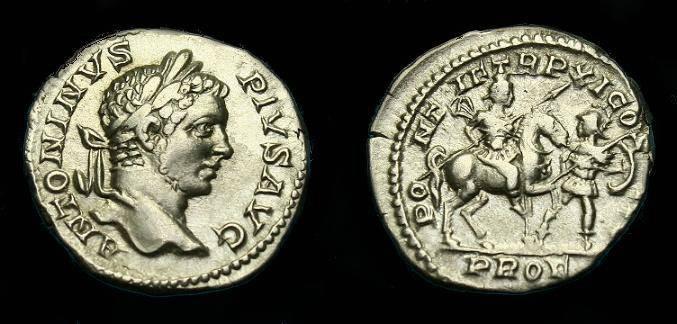 Ancient Coins - Caracalla.  Ar denarius.  208 AD.  Nice detail and scarce type.