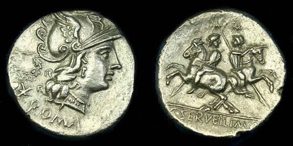 Ancient Coins - C Servilius M f.  Ar denarius.  136 BC.  Good detail.