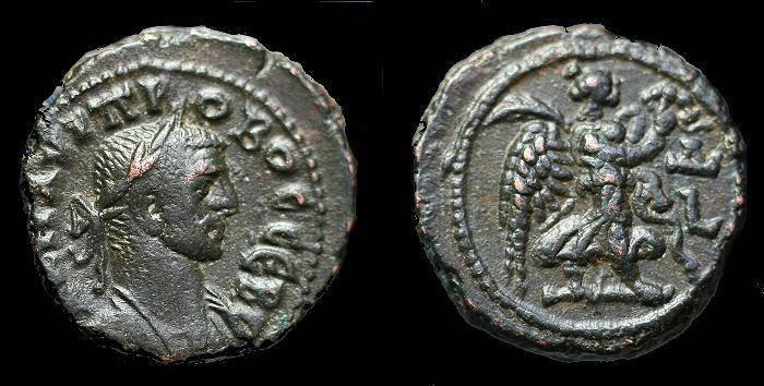 Ancient Coins - Probus.  Ae tetradrachm.  C. 278-279 AD.  Alexandria mint.  Year 4.