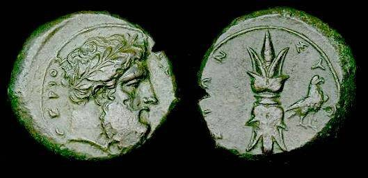 Ancient Coins - Sicily.  Syracuse.  Time of Timoleon.  Ae hemilitron.  Nice detail.