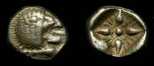 Ancient Coins - Miletos, Ionia.  Ar 1/12 stater.  6th century BC.
