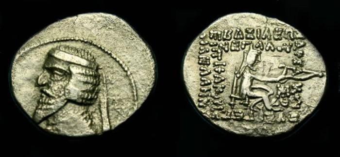Ancient Coins - Parthian.  Phraates III.  Ar drachm.  70-57 BC.  Good detail.
