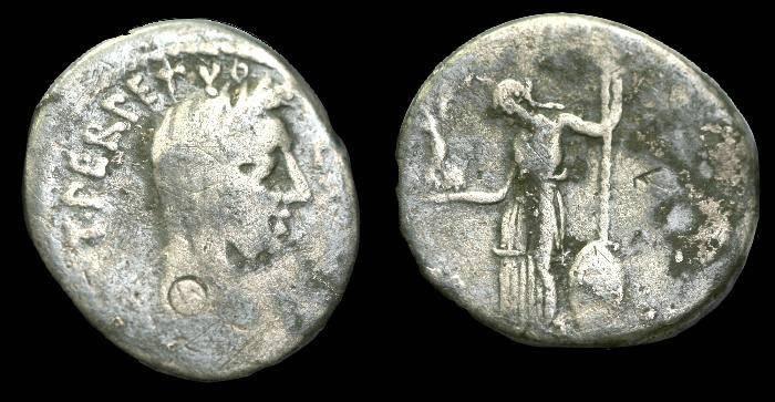 Ancient Coins - Julius Caesar.  Ar denarius.  C. 44 BC.  Inexpensive portrait issue.  RARE.