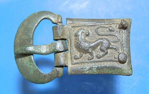 Ancient Coins - Superb early Medieval buckle and plate.  C. 13th century.
