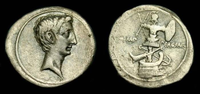Ancient Coins - Octavian.  Ar denarius.  30-29 BC.  Scarce type.