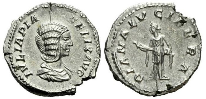 Ancient Coins - Julia Domna Diana AR Denarius #7044