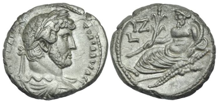 Ancient Coins - EGYPT, Alexandria. Hadrian. Billon Tetradrachm Nilus #DB 7350