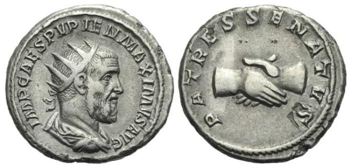 Ancient Coins - Pupienus. Rome. AR Antoninianus. Clasped hands. #2313