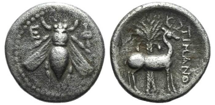 Ancient Coins - RARE! Ephesos/Ionia AR Drachm Bee Stag Palm tree. #7036
