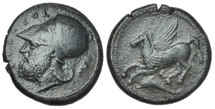 Ancient Coins - SICILY, Syracuse. Timoleon and the Third Democracy. Æ Dilitron, VERY RARE! # FF 7315