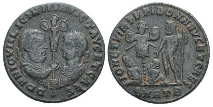 Ancient Coins - Extremely rare! Licinius I with Licinius II #7105
