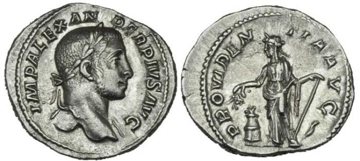 Ancient Coins - Severus Alexander AR Denarius Providentia #NN7100