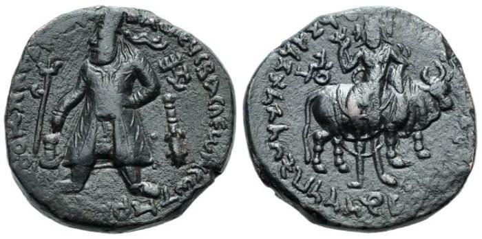 Ancient Coins - Kuschan Kadphises AE-Tetradrachm Taxila #7071
