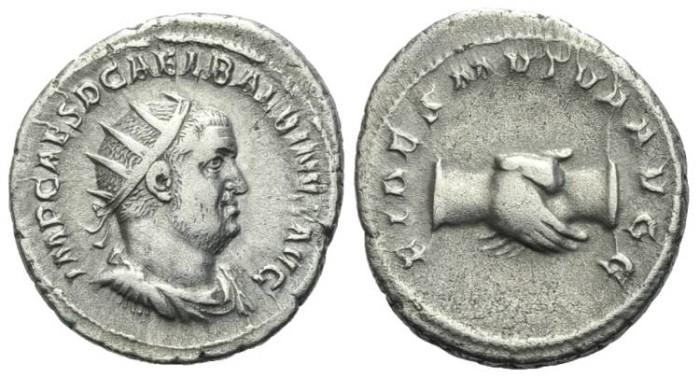 Ancient Coins - Balbinus. Rome. AR Antoninianus. Clasped hands. #2312