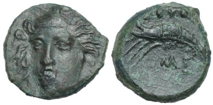 Ancient Coins - SICILY, Himera. Circa 412-409 BC. Æ Hemilitron #S 7217