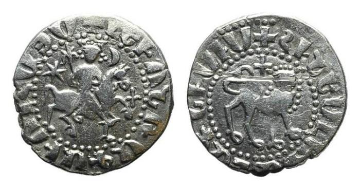 World Coins - Cilician Armenia. Levon II. Tram. Lion. Cross. # 9035