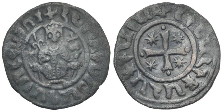 World Coins - Cilician Armenia. Hetoum I. AE Tank. Cross. #0145