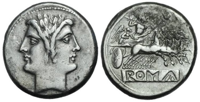 Ancient Coins - Anonymous AR Didrachm or Quadrigatus #S 7179