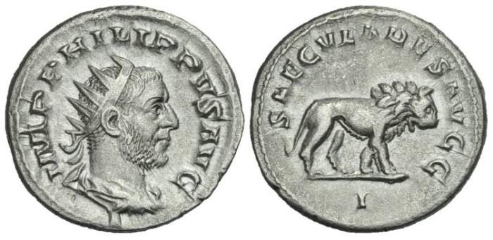 Ancient Coins - Philip I.  AR Antoninianus Lion #7081