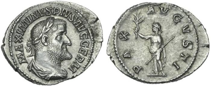 Ancient Coins - Maximinus I. AR Denarius Pax # PP 7279