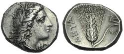 Ancient Coins - LUCANIA, Metapontion. Circa 330-290 BC. AR Nomos # S 7210